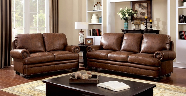 Arther Traditional Brown Sofa & Loveseat In Top Grain Leather