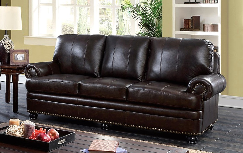 Arther Traditional Dark Brown Sofa In Top Grain Leather
