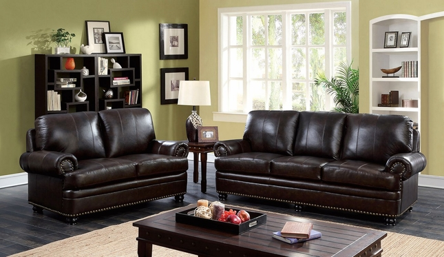 Arther Traditional Dark Brown Sofa & Loveseat In Top Grain Leather