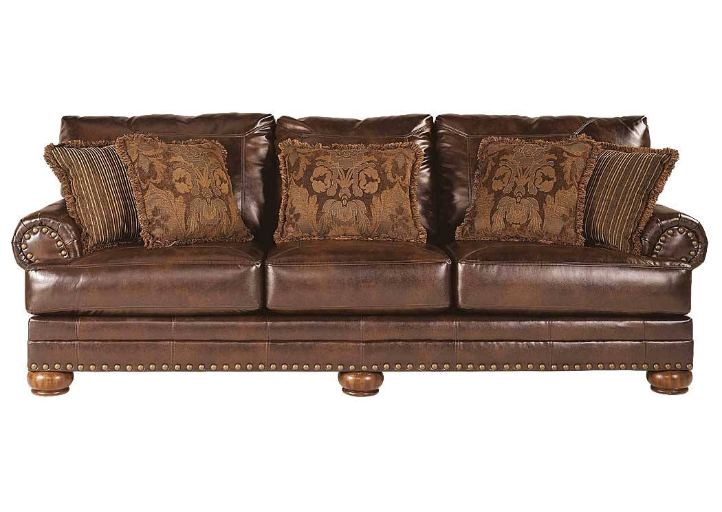 Ashley Antique Brown Bonded Leather Sofa Rolled Arms