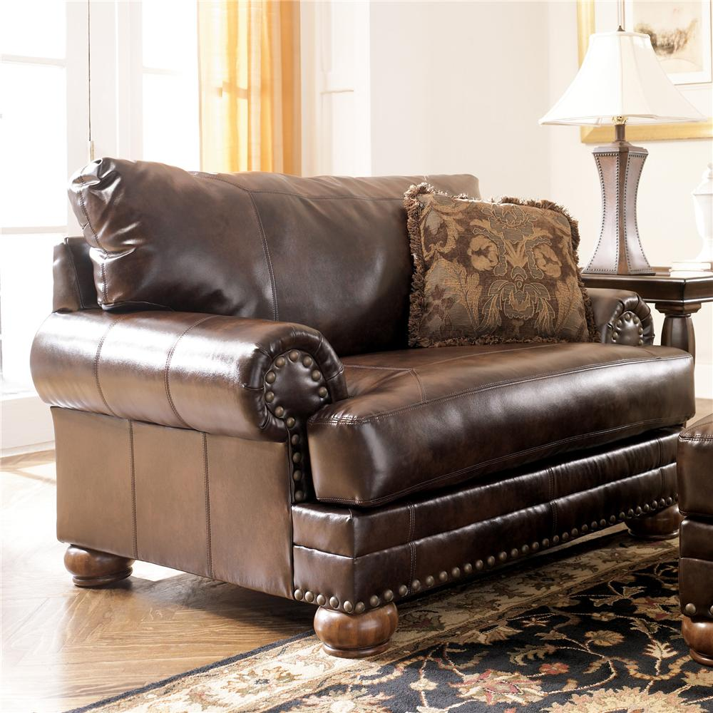 Ashley Outlet Furniture: Ashley Antique Brown Leather Chair W/ Rolled Arms
