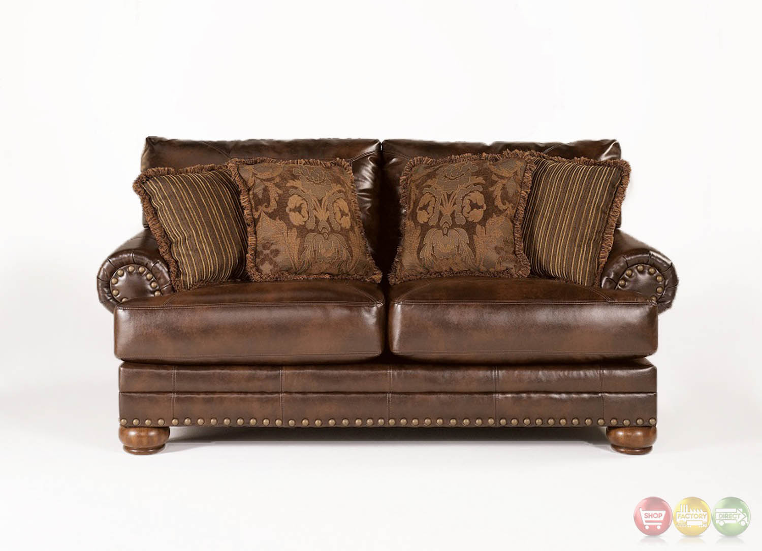 Ashley Antique Brown Leather Loveseat W/ Rolled Arms