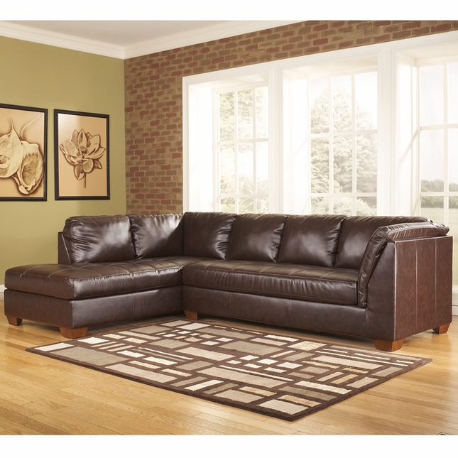 Ashley Fairplay Sectional W/ Left Side Chaise In Mahogany Durablend Leather