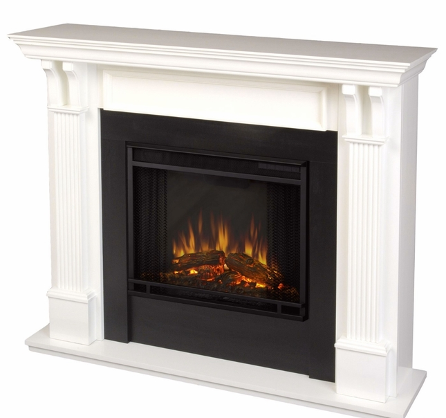 Ashley Indoor Electric LED Heater Fireplace In White, 4700BTU, 48x41