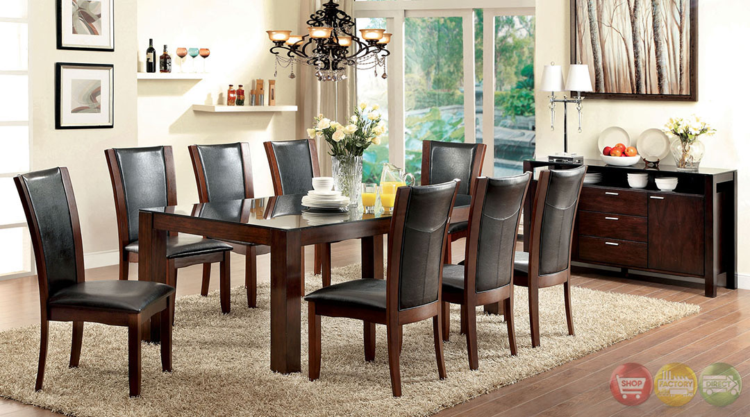 Astoria Contemporary Dark Cherry Casual Dining Set with Padded ...