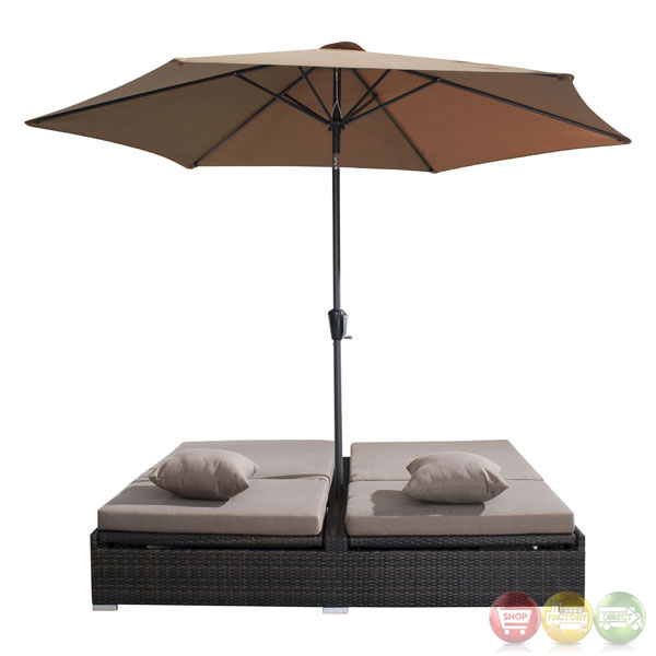 Patio Furniture Southern New Jersey: Atlantic Espresso Double Chaise Lounge Zuo Modern 703545