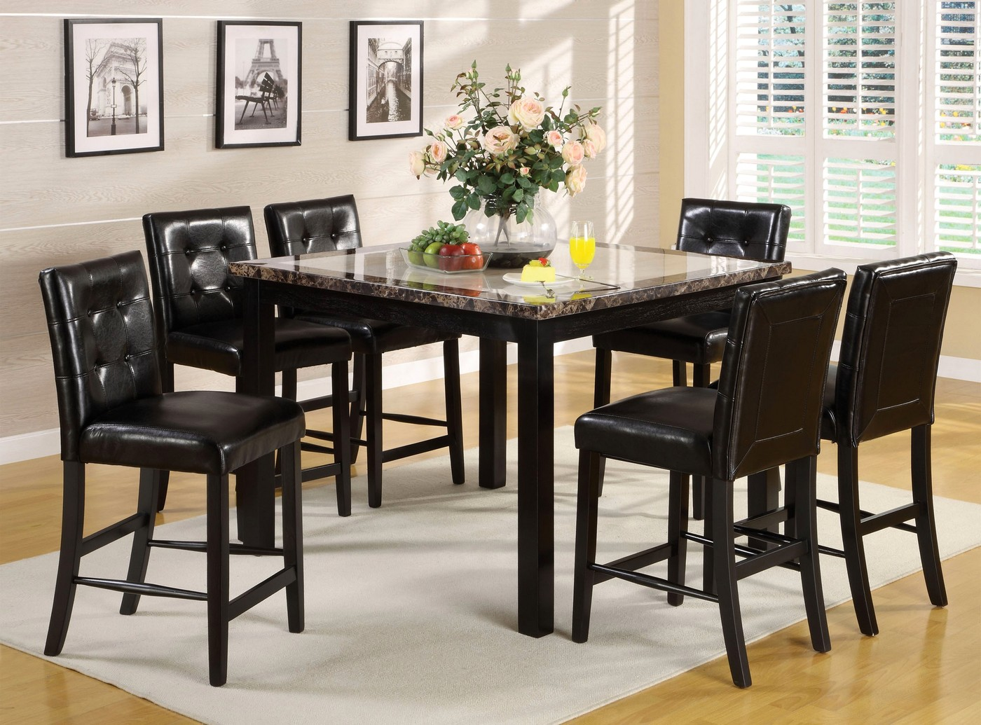 Atlas II Contemporary Black Counter Height Dining Set With