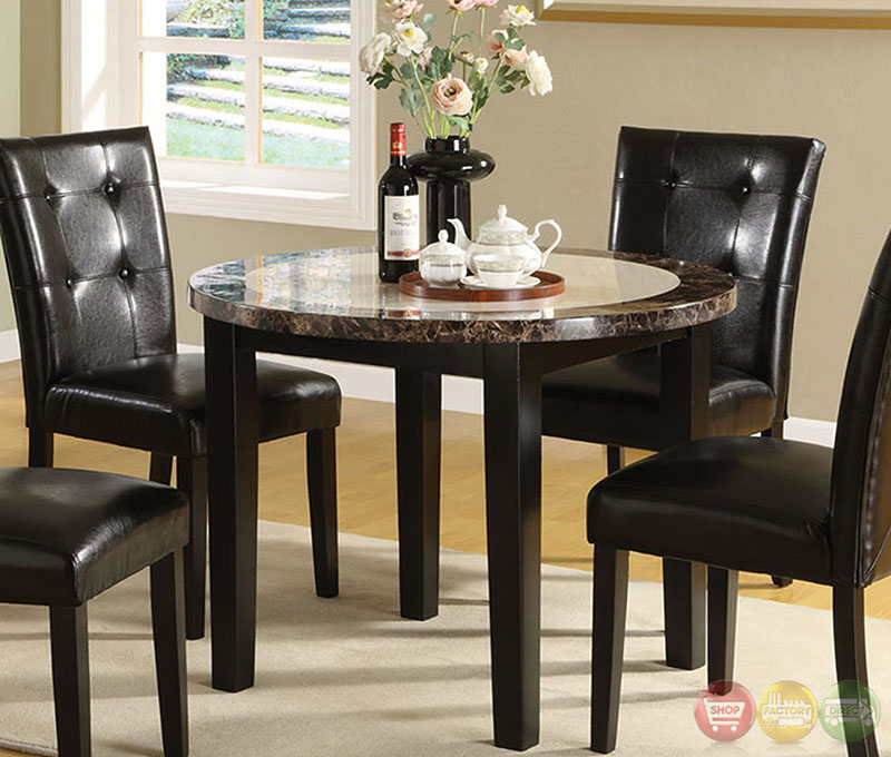 Atlas Iii Black Casual Dining Set With Faux Marble Top
