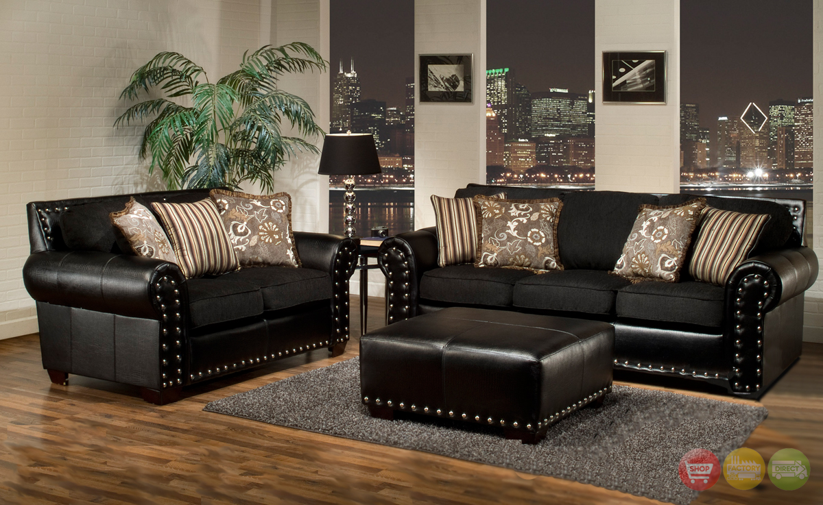 Avanti traditional black living room furniture set w nailhead trim