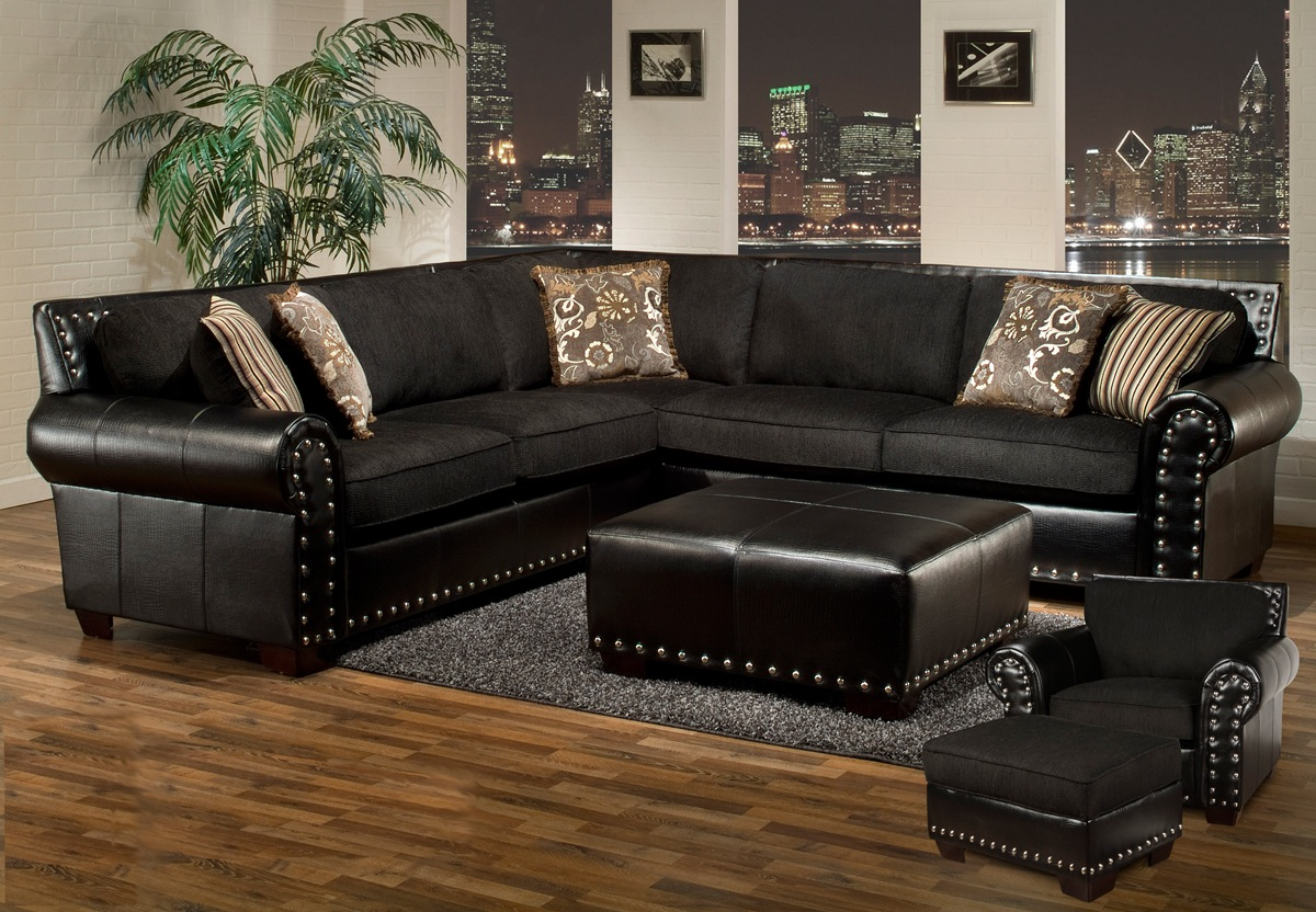 Avanti Traditional Black Sectional Sofa w/ Nailhead ...