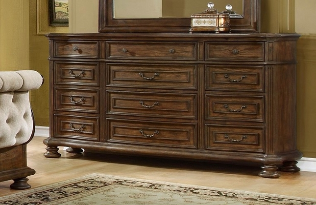 Aveline Classic 12-drawer Dresser In A Wood Grain Pecan Finish