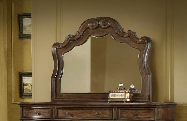 Aveline Classic Luxury Beveled Mirror In A Wood Grain Pecan Finish