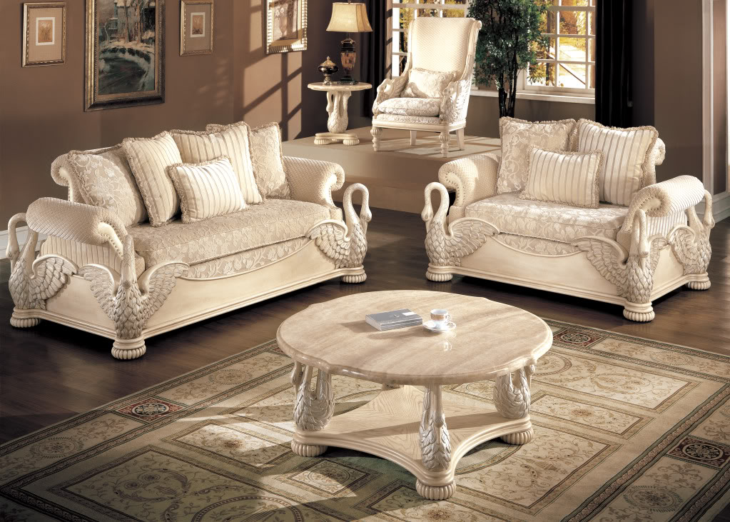 Avignon Antique White Swan Motif Luxury Formal Living Room Furniture Set