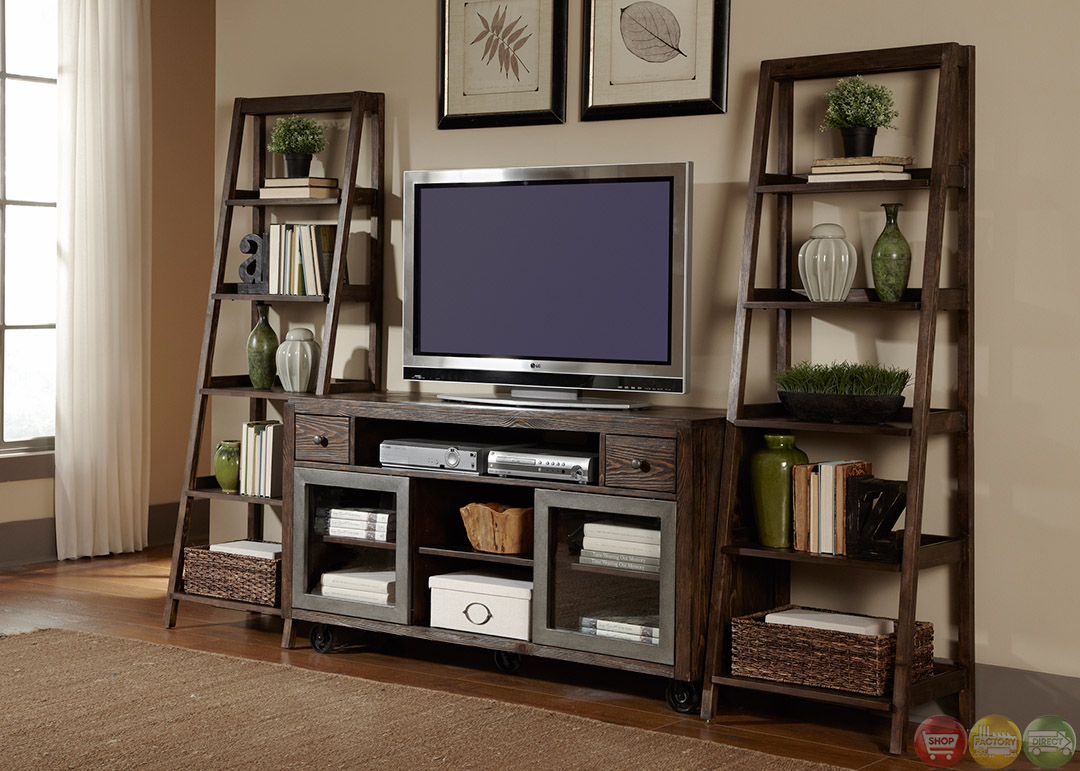 Avignon Rustic Entertainment Center Unit with Side Piers