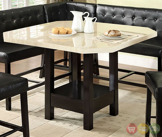 Counter Height Corner Dining Set : ... Black Counter Height Dining Set with Corner Chair Seating CM3427