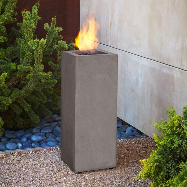 "Baltic 34"" Propane Fiber Concrete Fire Column In Glacier Gray"