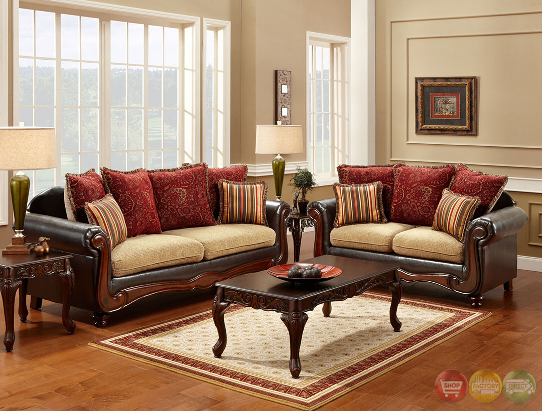 banstead traditional camel and espresso living room set with pillows