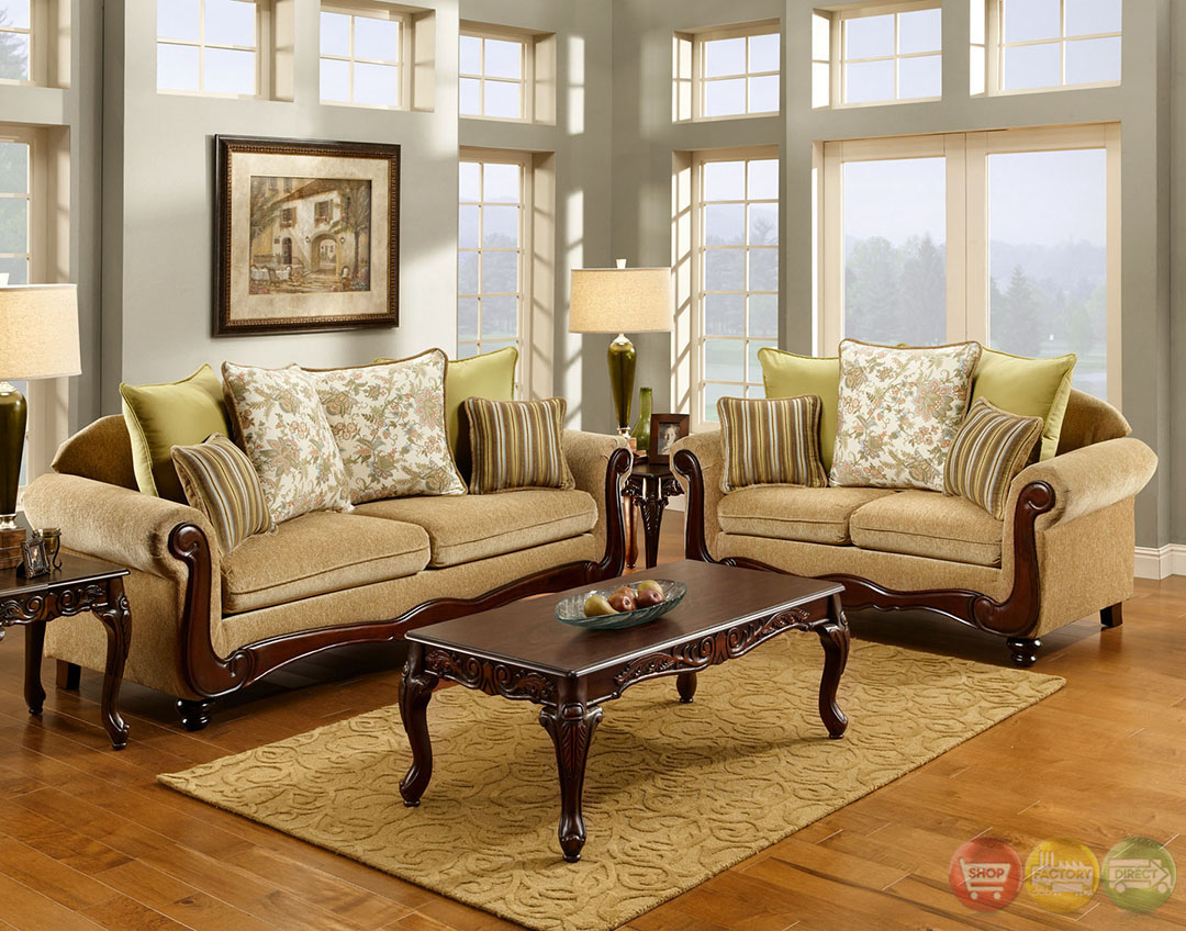 Banstead Traditional Wheat Living Room Set With Pillows SM7690