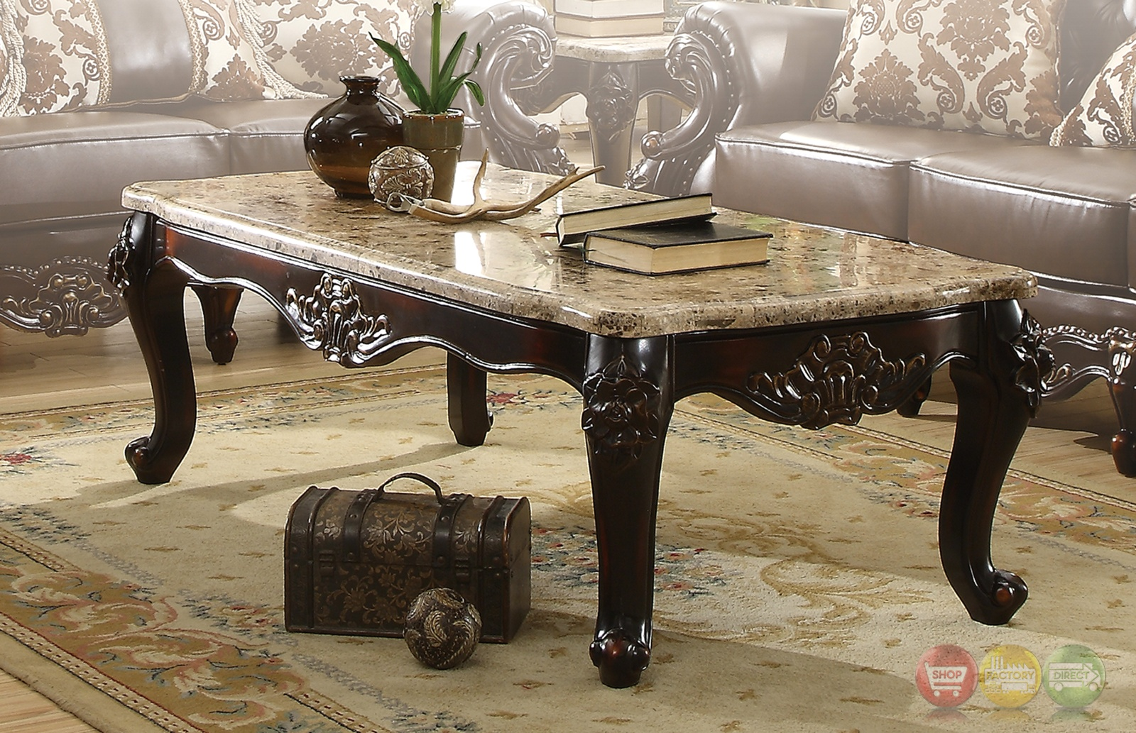 Barcelona Dark Brown Traditional Coffee Table With Genuine