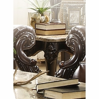 Barcelona Dark Brown Traditional End Table With Genuine Marble Top