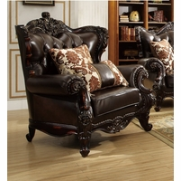 Barcelona Dark Brown Tufted Leather Chair With Carved Frame Designs