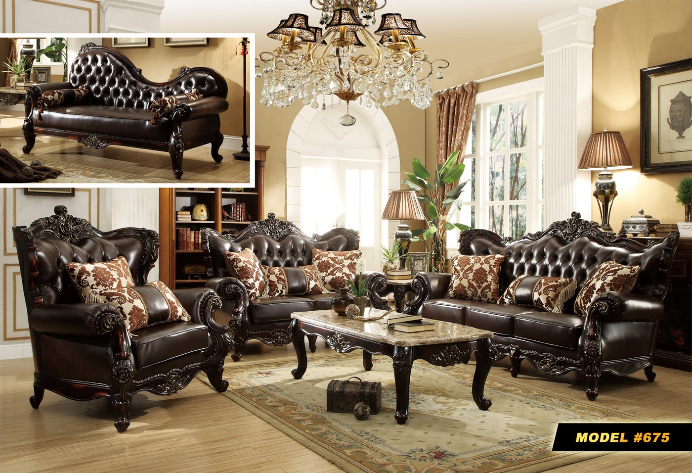 Barcelona Dark Brown Tufted Leather Chaise With Carved