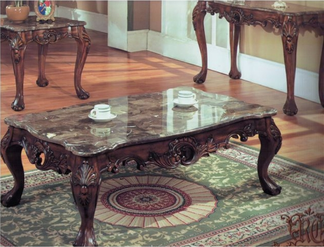 Barcelona Traditional Occasional Table Collection w/ Carved Wood & Marble Tops