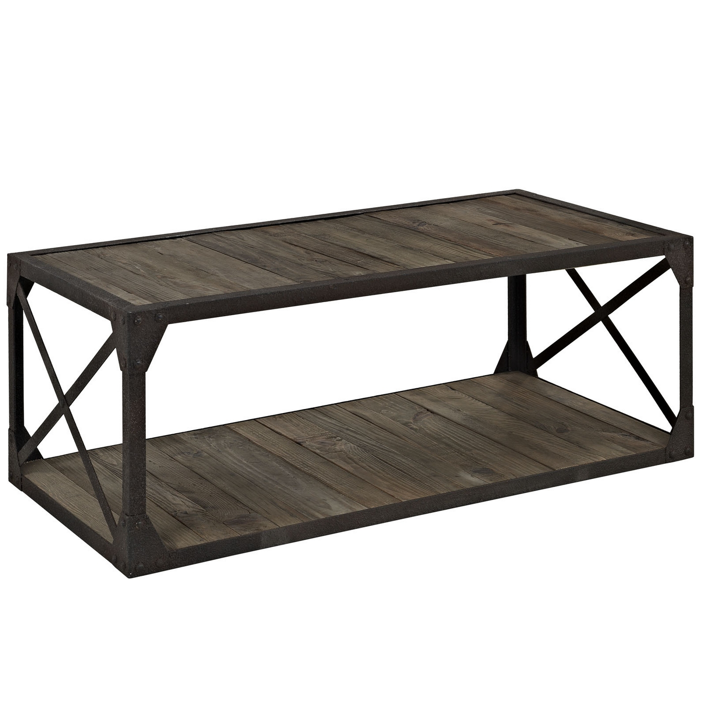 Modern Coffee Table Metal: Basic Industrial Modern Coffee Table With Pine Shelves