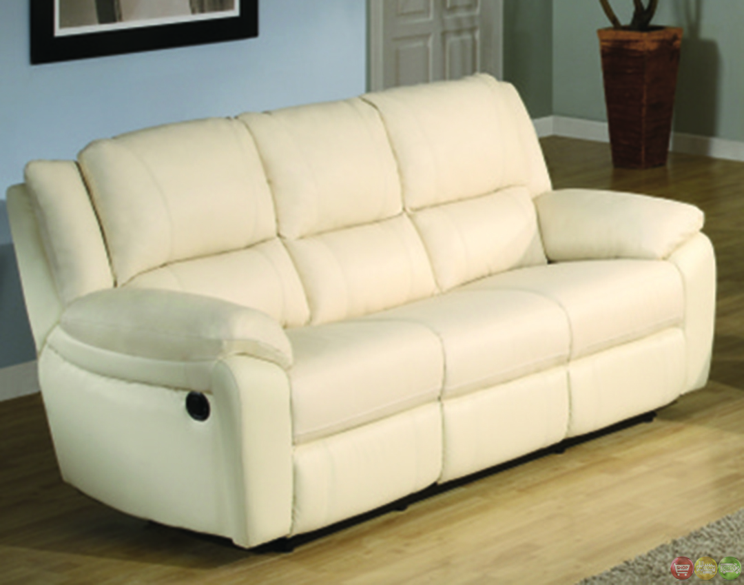 Baxtor contemporary faux leather reclining sofa set for Contemporary reclining sofas