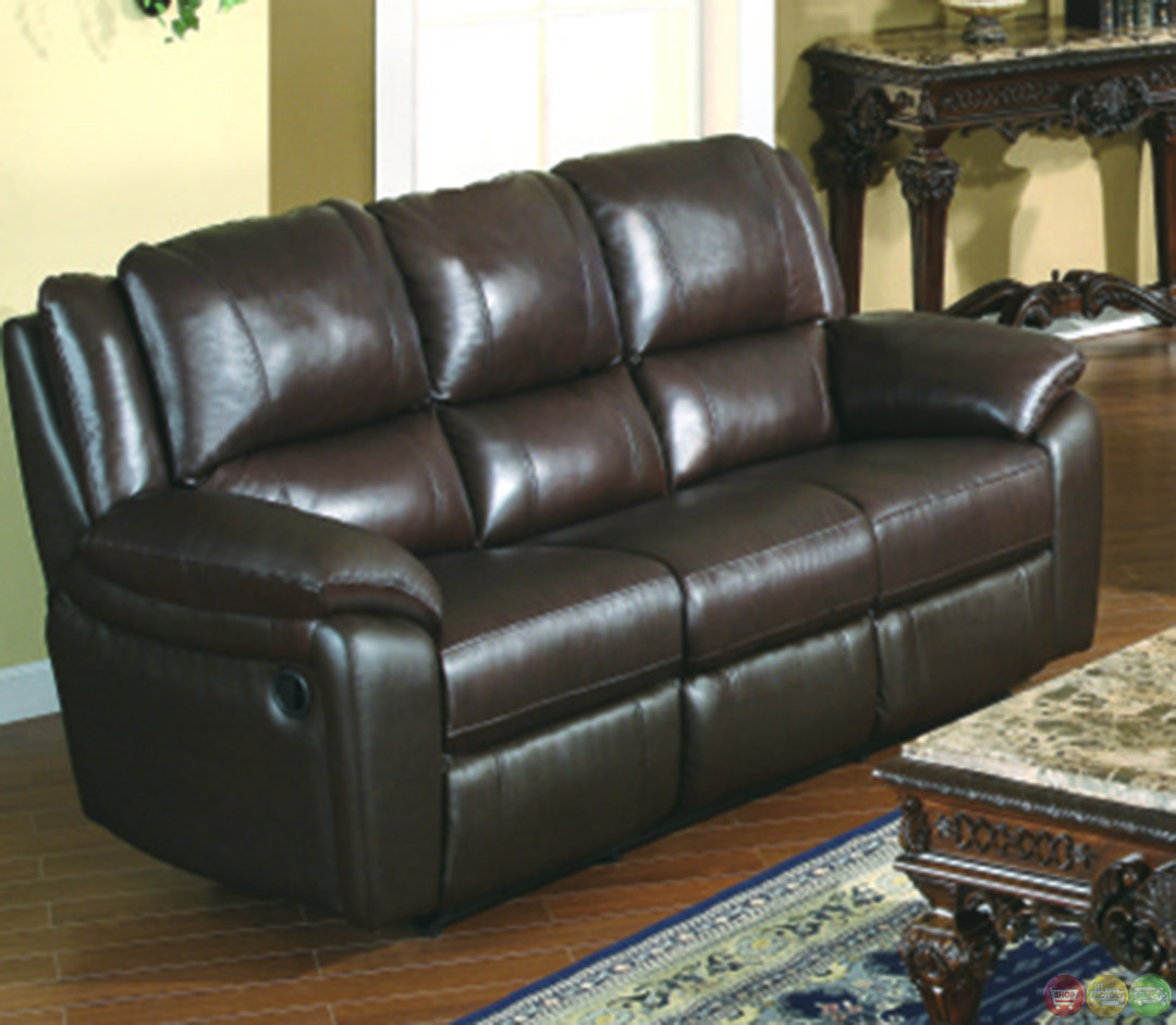 Leather Match Sofa: Baxtor Dark Brown Reclining Sofa Set Leather Match