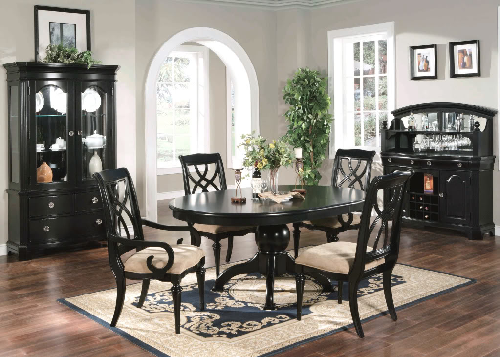 Bayle Black Formal Dining Room Furniture Set Oval Table