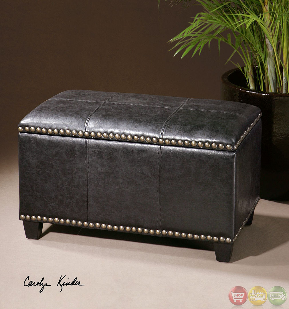 Beckham Small Black Brass Nailhead Trim Storage Bench 23082