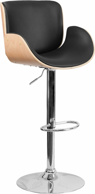 Beech Bentwood Adjustable Height Barstool With Curved Black Vinyl Seat