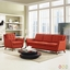 Beguile 2pc Upholstered Armchair & Loveseat Living Room Set, Atomic Red