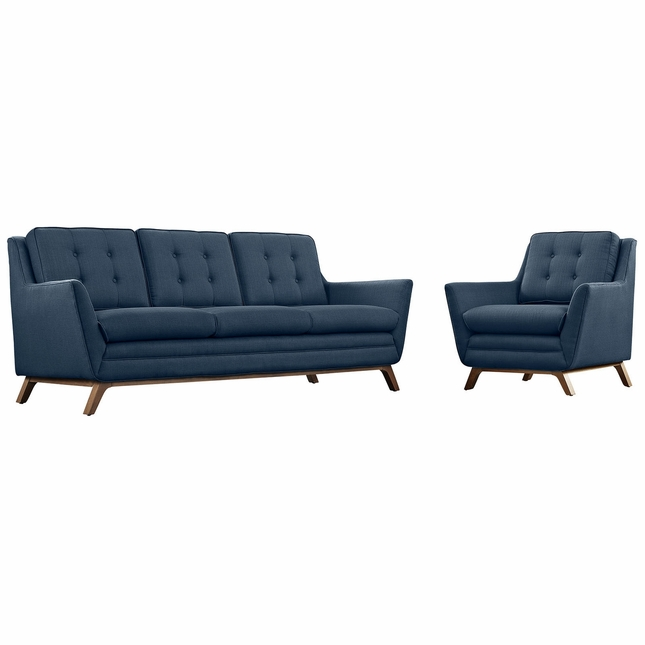 Beguile 2pc Upholstered Armchair & Loveseat Living Room Set, Azure