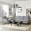 Mid-Century Modern Beguile 2pc Armchair & Loveseat Set, Expectation Gray