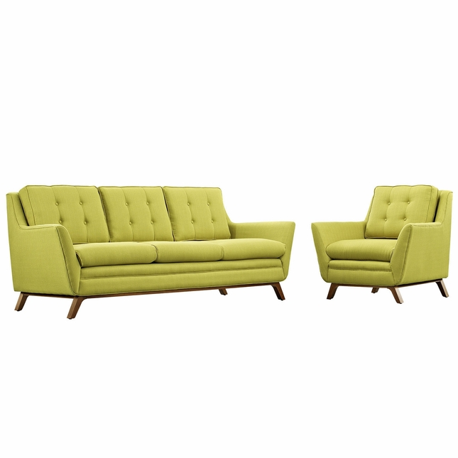Mid-Century Modern Beguile 2pc Armchair & Loveseat Living Room Set, Wheatgrass
