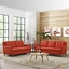 Mid-Century Modern Beguile 2pc Button-Tufted Sofa & Loveseat Set, Atomic Red