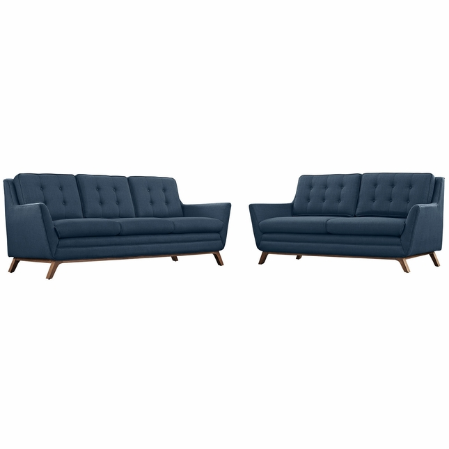 Beguile 2pc Upholstered Button-tufted Sofa & Loveseat Set, Azure