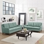 Mid-Century Modern Beguile 2pc Button-Tufted Sofa & Loveseat Set, Laguna