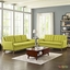 Mid-Century Modern Beguile 2pc Button-Tufted Sofa & Loveseat Set, Wheatgrass