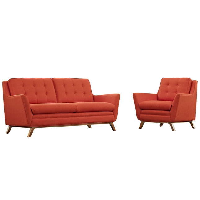Beguile 2pc Upholstered Loveseat & Armchair Living Room Set, Atomic Red
