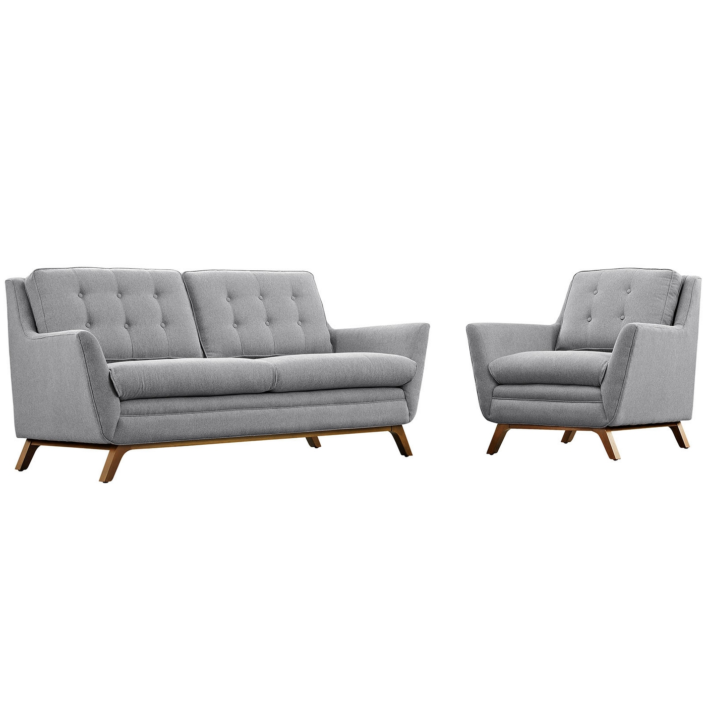 2pc Upholstered Loveseat & Armchair Living Room Set, Expectation Gray