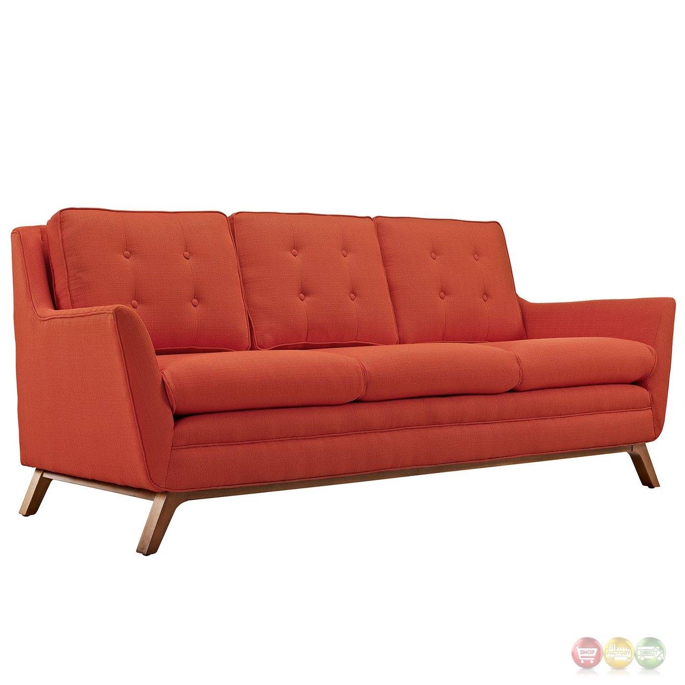 Beguile 3pc Upholstered Button Tufted Sofa Set W/ Wood Legs Atomic . Full resolution  photograph, nominally Width 1400 Height 1400 pixels, photograph with #43180C.