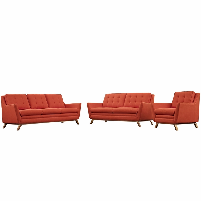 Beguile 3pc Upholstered Button-tufted Sofa Set w/ Wood Legs, Atomic Red