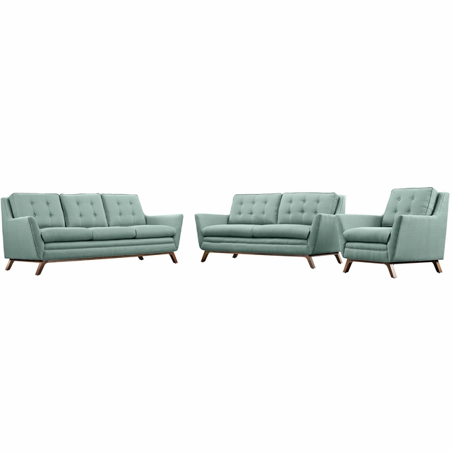 Beguile 3pc Upholstered Button-tufted Sofa Set w/ Wood Legs, Laguna