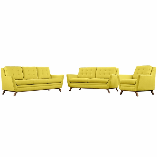 Beguile 3pc Upholstered Button-tufted Sofa Set w/ Wood Legs, Sunny