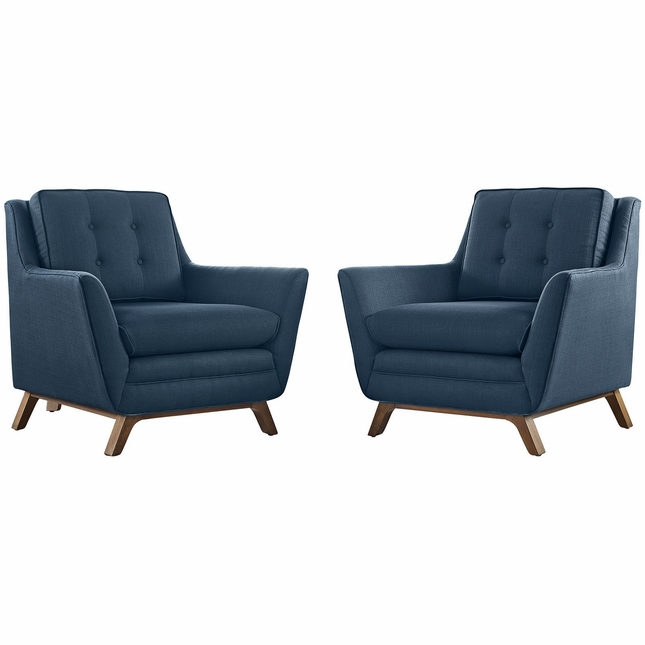 Beguile Contemporary 2pc Button-tufted Fabric Living Room Set, Azure