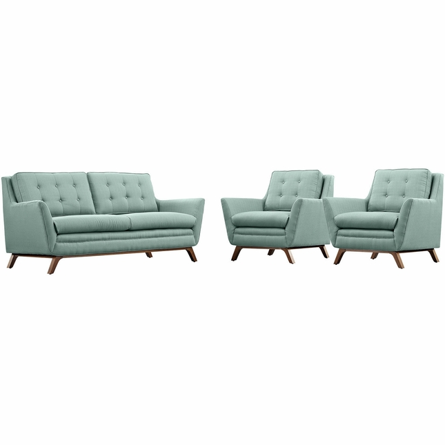 Beguile Contemporary 3-pc Fabric Upholstered Living Room Set, Laguna