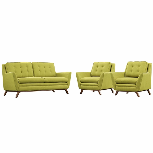 Beguile Contemporary 3-pc Fabric Upholstered Living Room Set, Wheatgrass